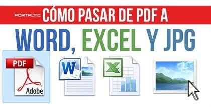 Cómo pasar un archivo PDF a Word, EXCEL y JPG