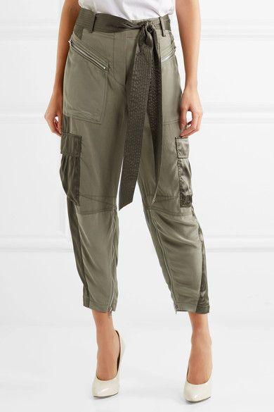 3.1 Phillip Lim - Cropped Silk Satin-paneled Twill Pants - Army green - US10