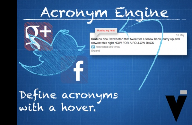 """Acronym-Engine   Pitch: """"Smh trying to figure out social media acronyms."""" Not anymore.    Abbreviations are used in every pocket of organized society. Whether it is the letter riddled education system, or social media. Acronym engine is an extension that would reveal the hidden message or possible hidden messages with a simple hover."""