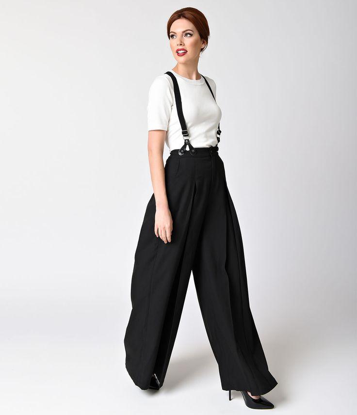 1940s Style Pants- Wide Leg, High Waist Voodoo Vixen Vintage Style Black Wide Leg Shelley Suspender Pants  Size XL $72.00 AT vintagedancer.com