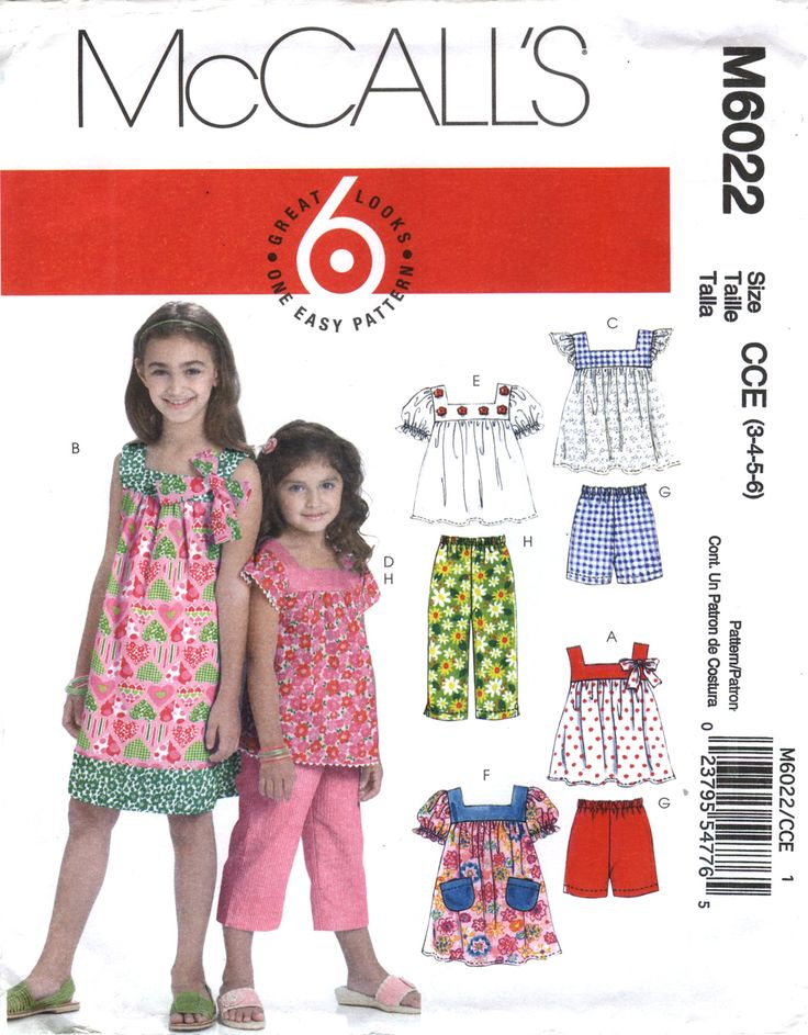 McCall's 6022 Children's/Girls' Tops, Dresses, Shorts and Pants
