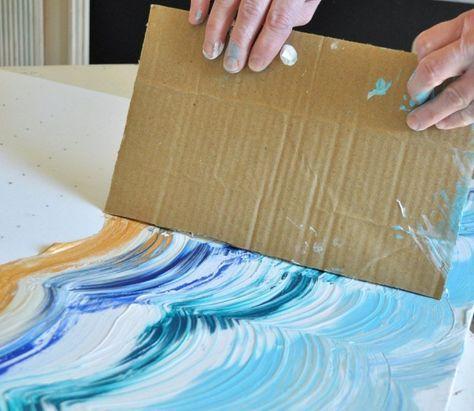 Leinwand malen - Hübsche Wellen entstehen