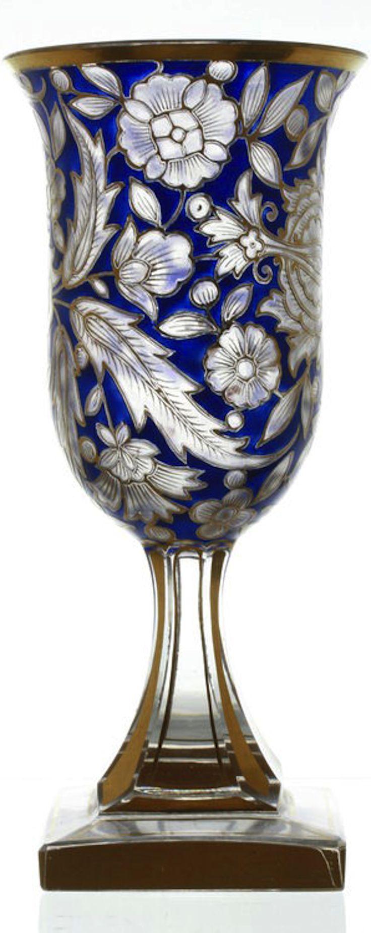 Sklenička  * ručně malované sklo * Bohemia.
