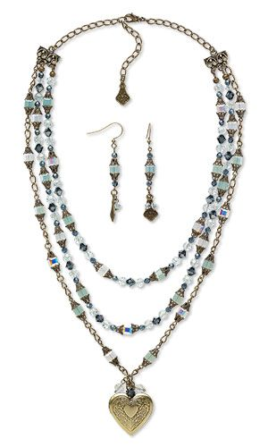 Triple-Strand Necklace and Earring Set with Swarovski Crystal, Antiqued Brass Charm and Antiqued Gold-Plated Brass Chain