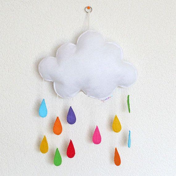 Gorgeous cloud and rainbow raindrops, baby crib deco mobile