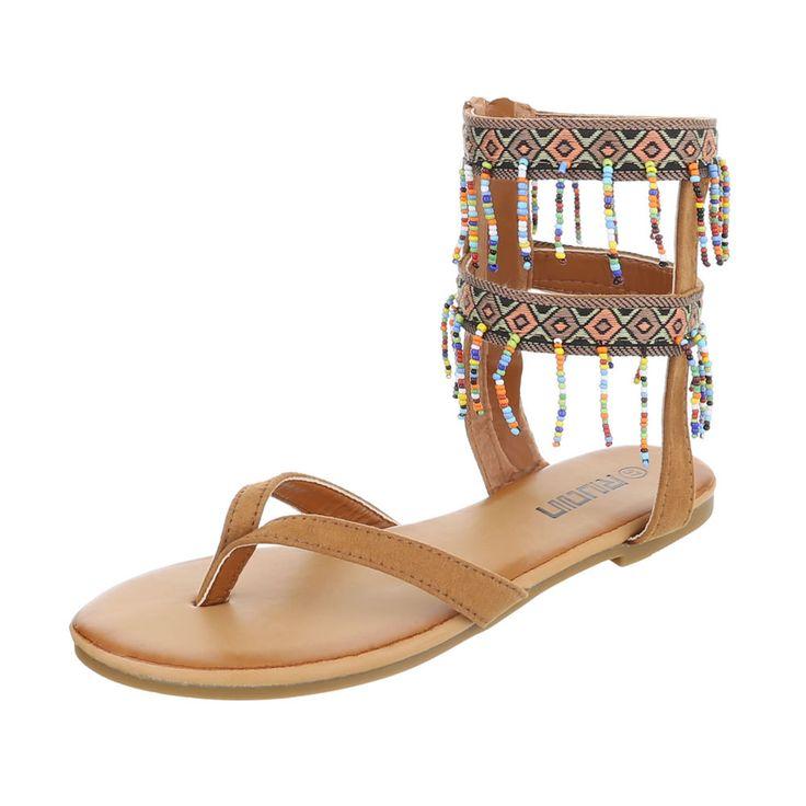 Trendige Zehentrennersandalen mit einem Obermaterial aus Textil und Wildlederimitat gefertigt. Die Schuhe im angesagten Hippie Style komplettieren einfach jedes Sommeroutfit.