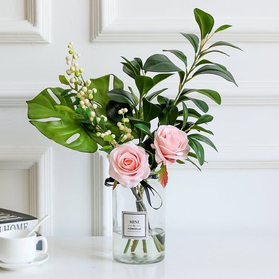 Greenery And Rose Flower In Vase Rose Floral Arrangements Flower Vases Floral Arrangements