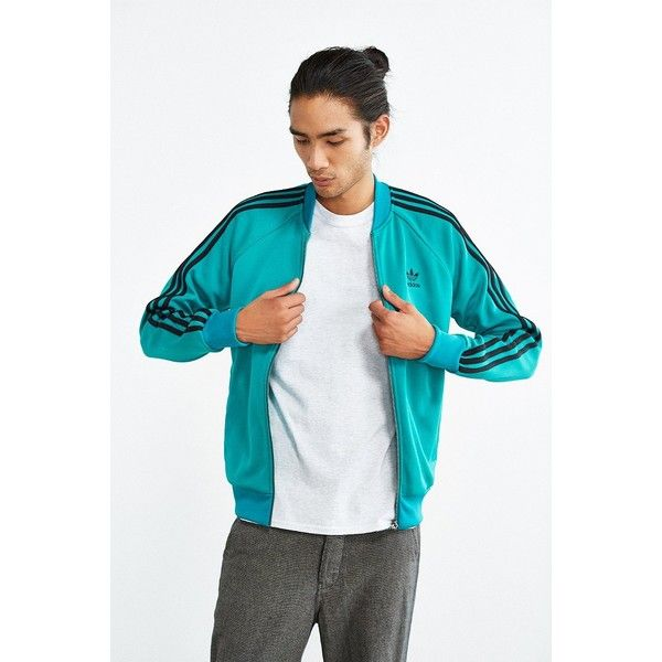 adidas Superstar Track Jacket ($70) ❤ liked on Polyvore featuring men's fashion, men's clothing, men's activewear, men's activewear jackets and bright green