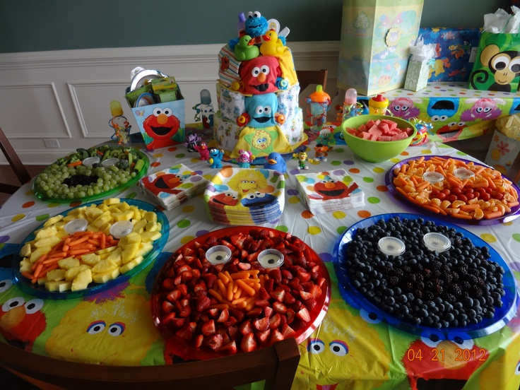 Sesame Street Party Fruit Trays And Table Decorations