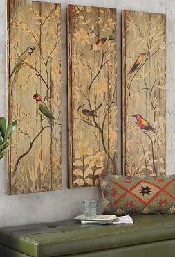 Bring serene beauty to any room in your home with the hand painted Calima Bird Triptych that gracefully pays tribute to birds of a bygone era.