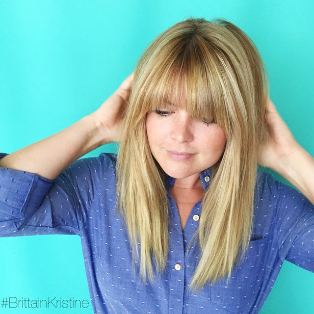 Blonde Highlights And Full Fringe Brittain Monge On Bangstyle Long Layered Hair Hair