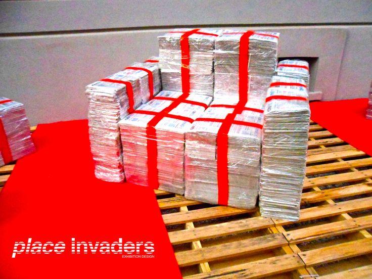 "Mostra ""Vuoti a Rendere"".  Milano   Fuorisalone 2014   via Solari 40   9-13 aprile. www.placeinvaders.net  The newspapers become sofa!"
