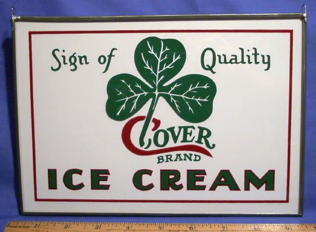 It is reverse painted glass sign. I have a few left and all are in MINT condition. Exceptional graphics of a shamrock clover. Unique use of colors in the text. The words Ice Cream are done in dark green and outlined in red. | eBay!