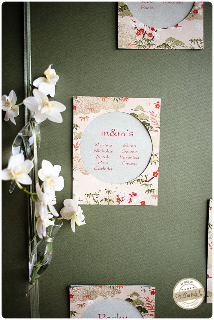A japan-themed seating chart by Fairy and Fairy. The palette is so elegant (I love orchids). Ph Emanuele Capoferri http://www.brideinitaly.com/2013/11/capoferri-japan.html #italy #wedding