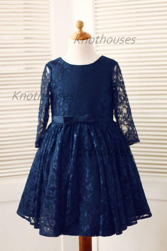 Long Sleeves Navy Blue Lace Flower Girl Dress Baby Girl Toddler Dress  Junior Bridesmaid Dress for Wedding - Thumbnail 1  da04dc6567