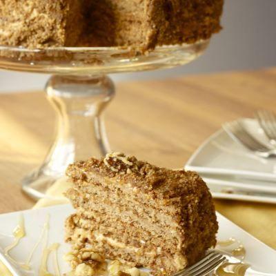 Reminds me of Prague! Delicious Honey Cake (Medovnik) Czech Republic ancient cake recipe.