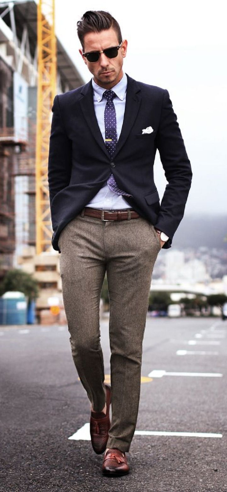 White Cloth Brown Edge With Blazer Men