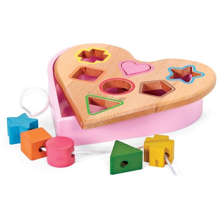 Heart shape sorter with holes for six different shapes. This classic toy has a fresh new design that children will love as they grow addicted to sorting shapes.