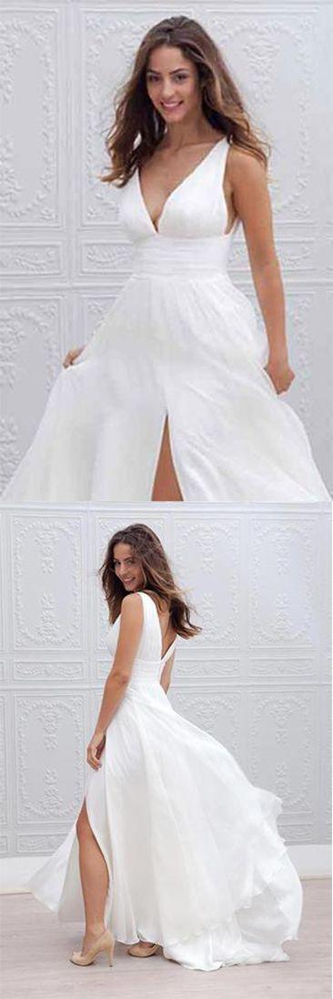 White Long A-Line Chiffon Deep V-Neck Sleeveless Side Split V-Back Wedding Dresses#chiffon#white#sidesplit#vback#deepvneck#simple#unique#sleeveless#weddingdressesuk