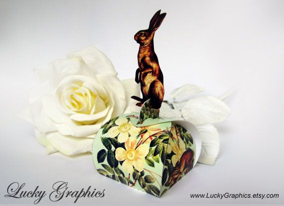 Printable box - Rabbit - Paper box pattern for gift box, jewelry box and more. INSTANT DOWNLOAD