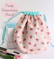 Pretty Drawstring Pouch. If you've always wanted to learn how to sew a small drawstring bag, check out the Pretty Drawstring Pouch. It's a great little place to store small sewing supplies. It can also be used for wrapping a special gift.