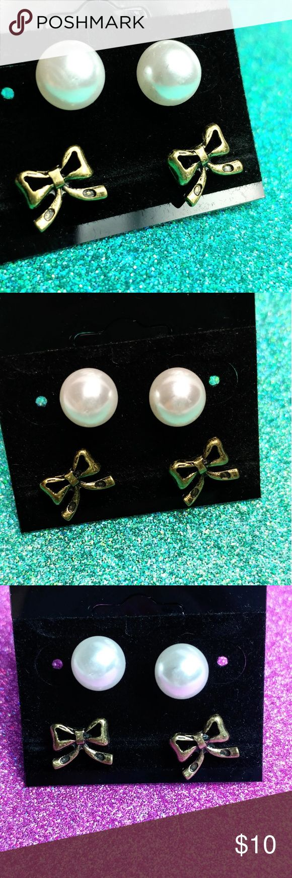 Sensitive Ears Bow And Pearl Stud Earrings