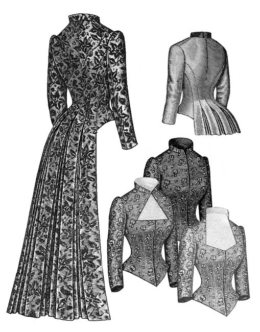 victorian bustle | Truly Victorian :: Late Bustle Patterns 1883-1889 :: 1883 Tail Bodice