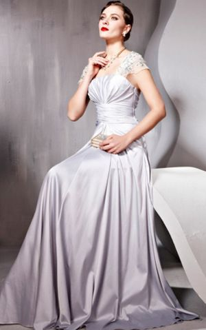 Portrait neck Capped Sleeve Lace Formal Gown