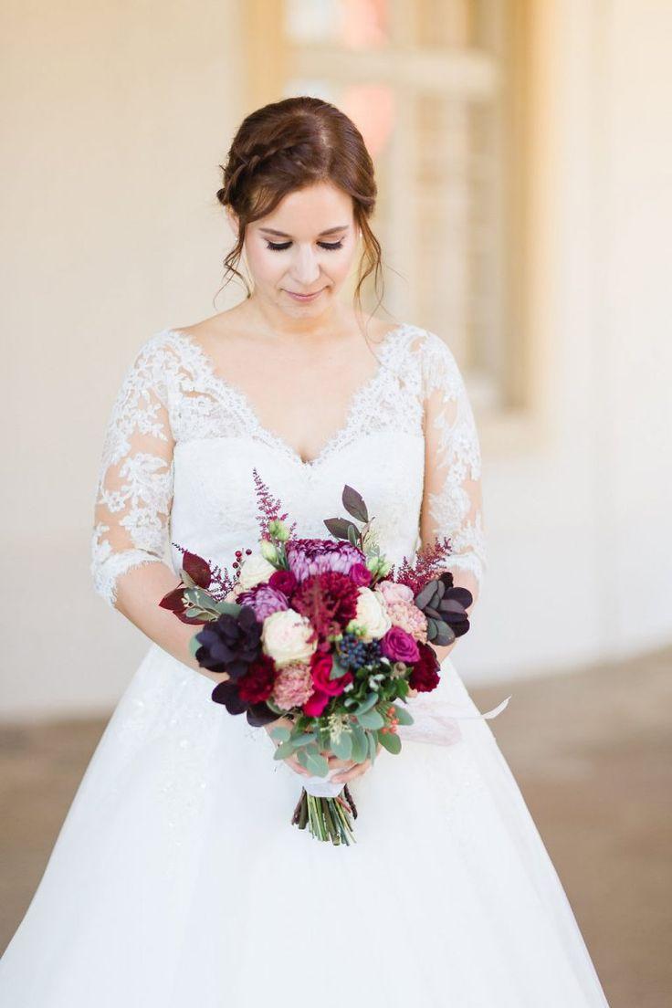 Ramo de novia de otoño, ramo de novia de rojo, ramo de novia de tonos baya