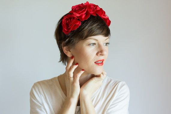 Flower headband RED by OlgaRe on Etsy