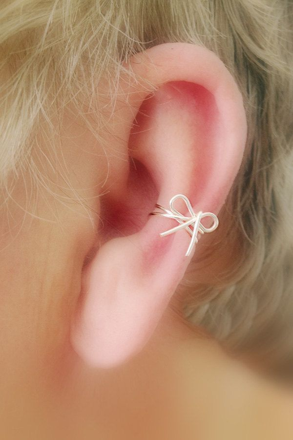 Ear Cuff Dainty Bow/ Choice of colors Non by TheLazyLeopard