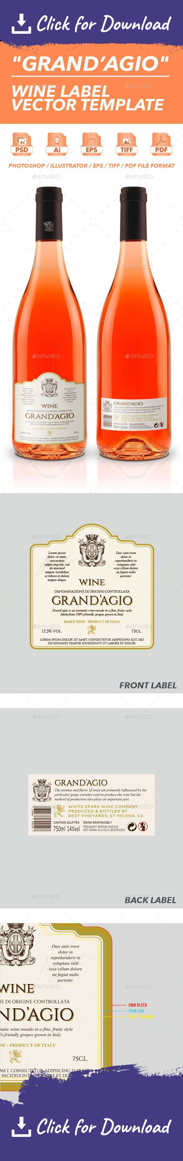 ads, advertising, alcohol, alcool, bottle, drink, elegant, glass, grapes, label, mockup, realistic, red, settler, the, vector, white wine, wine, winery Grand'Agio – Wine Label Vector Template	A sharp white wine label design formatted in print ready CMYK color scheme, designed in print resolution at 300 DPI. 100% vector shape (Photoshop also) for any kind of resizing. Provided file formats include Adobe Illustrator AI, Adobe Photoshop PSD, EPS, TIFF and PDF. Each file is equipped...