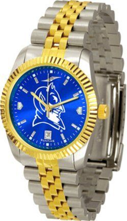 Duke Blue Devils Executive AnoChrome Men's Watch by SunTime. $154.10. The ultimate NCAA Duke Blue Devils fan's statement, our Executive timepiece offers men a classic, business-appropriate look. Features a 23KT gold-plated bezel, stainless steel case and date function. Secures to your wrist with a two-tone solid stainless steel band complete with safety clasp.The AnoChrome dial option increases the visual impact of any watch with a stunning radial reflection similar to that of th...
