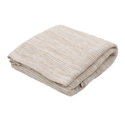 Beachcrest Home Fortin Handloom Transitional Throw Blanket Color: Taupe / Ivory