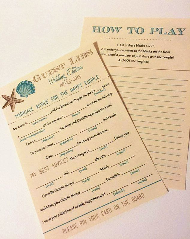 Beach Wedding Mad Lib Guest Libs - Seashell Wedding Game - Ad Lib Engagement Party Wedding Guestbook Alternative | DEPOSIT | ANY Color by PaintTheDayDesigns on Etsy