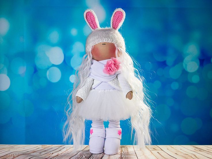 Doll tilda. Doll Albina. Сollection Fairy doll. Textile doll. Soft toy. Cute gift. Interior doll. Rag doll. Soft toy. Doll with Bunny ears by OwlsUa on Etsy