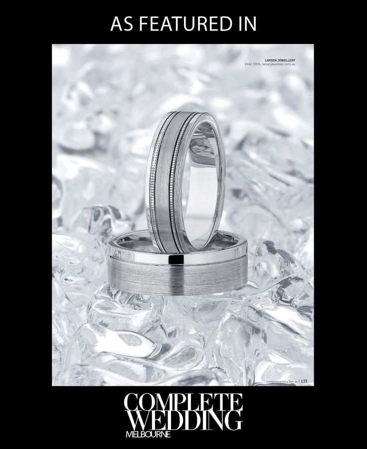 A selection of Larsen Jewellery's custom made wedding rings featured in the #CompleteWedding Magazine