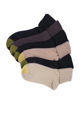 Gold Toe Asst - KhakiBlackCamelBlackBrownBlack Turn Cuff Socks - 6 Pack