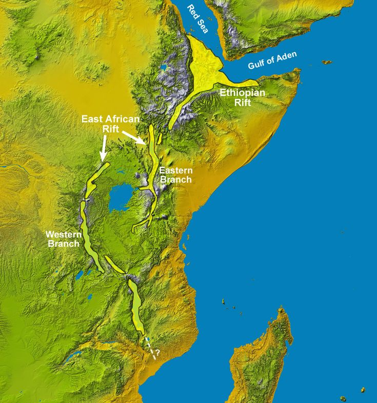 Rift segment names for the East African Rift System. Smaller segments are sometimes given their own names, and the names given to the main rift segments change depending on the source. The basemap is a Space Shuttle radar topography image by NASA.