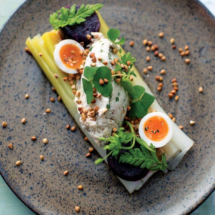 Tom+Kitchin+recipe:+Leek+confit+with+smoked+mackerel+pate