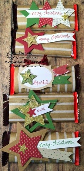 Just Sponge It: Festive Designer Kraft paper Rolls, Under the Tree dsp, Trim the Tree Paper Stack, Stars Framelits, Many Merry Stars Simply Sent Kit, And Many More Stamp Set, DIY, Stampin' Up! Christmas, Candy Favors