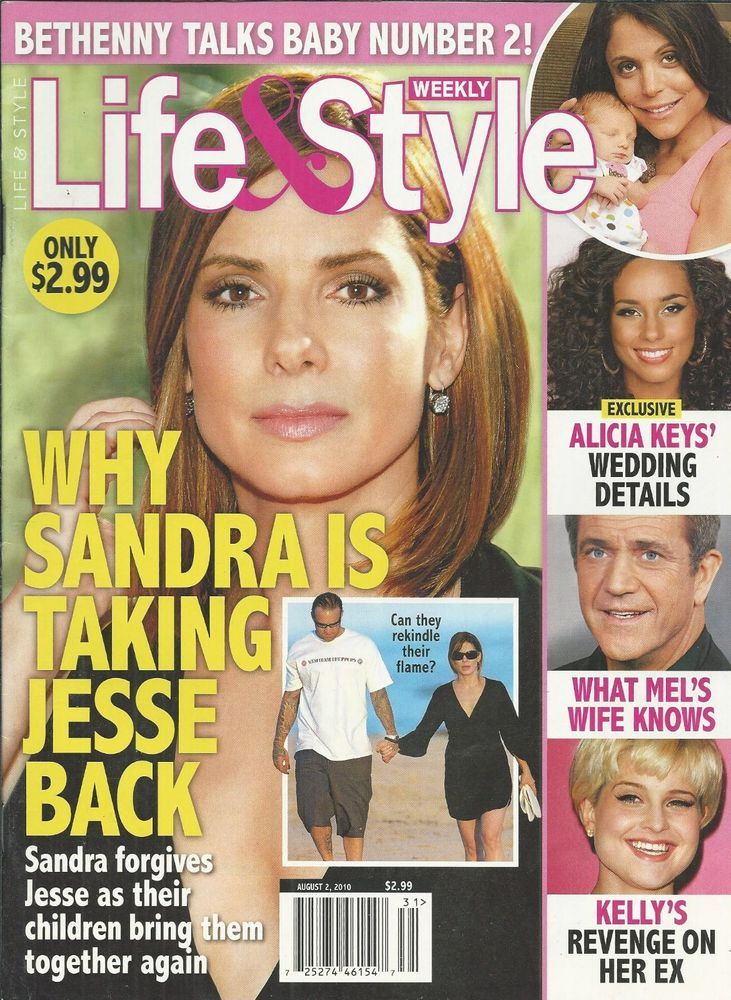 Life and Style magazine Sandra Bullock Bethenny Frankel Alicia Keys Mel Gibson