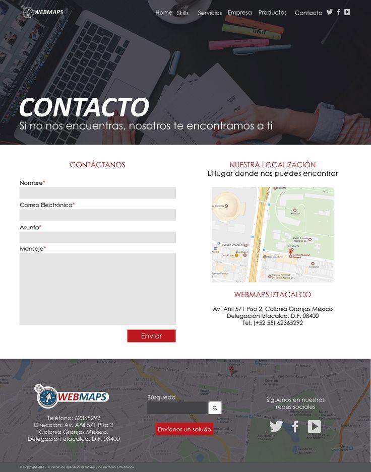 Mock up/Vista previa de sitio web, formulario de contacto. http://webmaps.com.mx/vistas/contacto.html