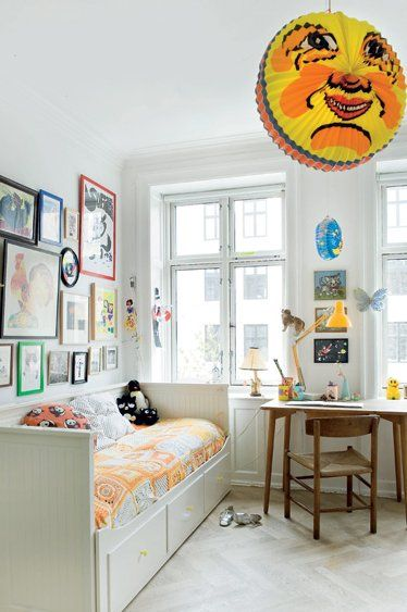white and vintage desk in kids space