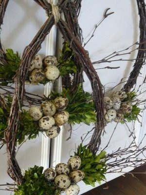 birch branches, buxus and eggs