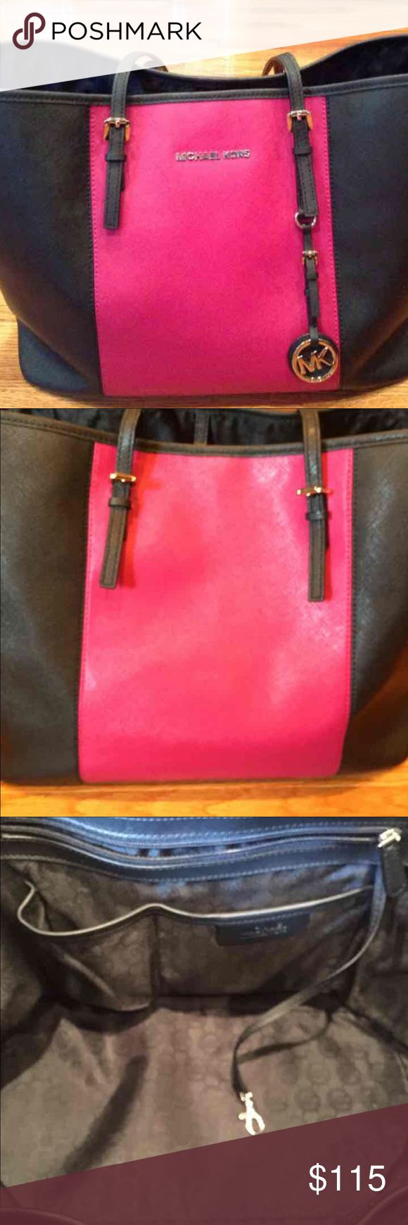 Michael Kors Jet Set Tote Michael Kors Jet Set Tote • Large • Black & Pink • Great Condition Michael Kors Bags Totes