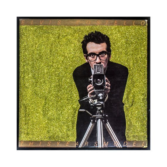 Glittered Elvis Costello My Aim is True Album Art @Vintage Vinyl @Elvis Costello