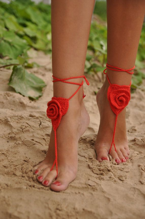 Crochet Barefoot Sandals Red Rose Lace shoes Beach Pool by barmine, $17.00