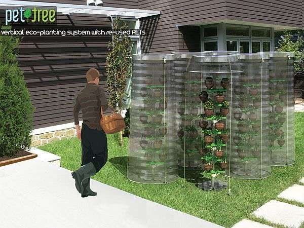 PET TREE    The PET Tree is a conceptual urban gardening kit designed by DESIGNNOBIS. The PET Tree is designed to get urbanites gardening and upcycling at the same time, using plastic bottles as flowerpots.