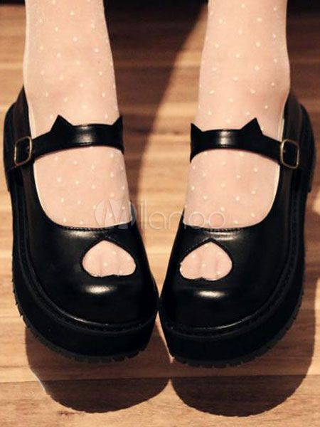 8d5a384d476a Black Lolita Shoes Flatform Heart Cut Out Lolita Pumps  Shoes ...